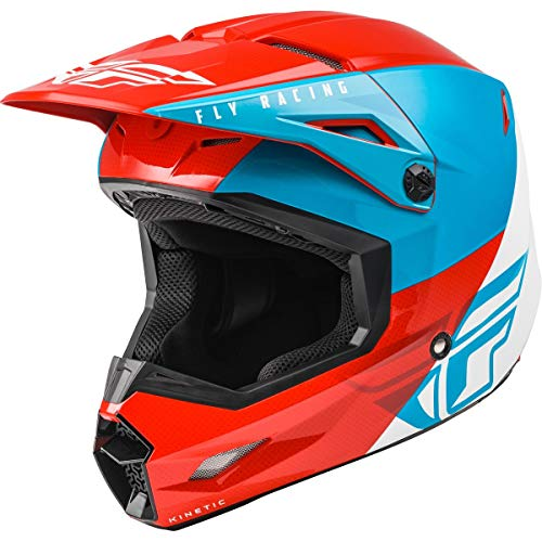 Fly Racing 2021 Youth Kinetic Helmet - Straight Edge (Large) (RED/White/Blue)