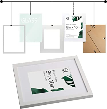 HappyHapi 8x10 Inch Picture Frames, Set of 6 Wooden Picture Frames, Tabletop or Wall Display Decoration for Photos, Paintings