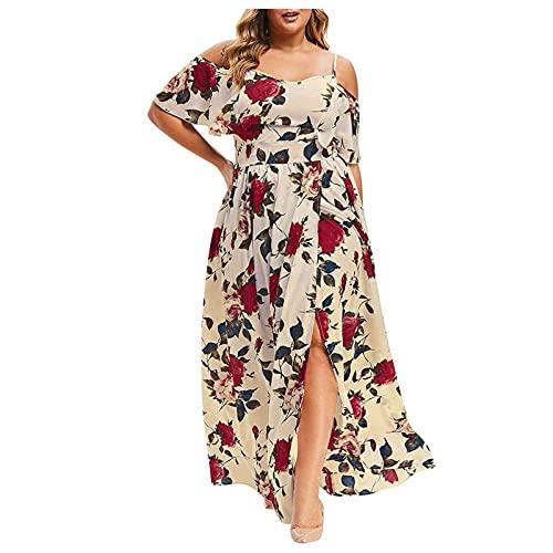 pamkyaemi Zomerjurk voor dames, elegante jurk, sexy off-shoulder jurk, V-hals, avondjurk, lang, maxi-jurk, boho…