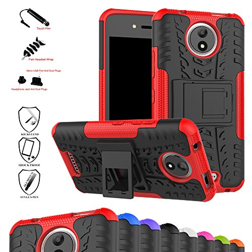 MAMA MOUTH Moto C Case, Shockproof Heavy Duty Combo Hybrid Rugged Dual Layer Grip Cover with Kickstand For Motorola Moto C Smartphone (With 4 in 1 Packaged),Red