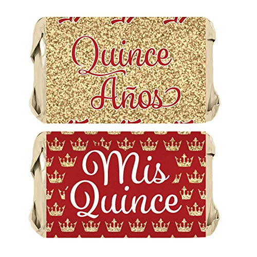 Red and Gold Quinceanera Party Favors - Mini Candy Bar Wrappers - 45 Stickers
