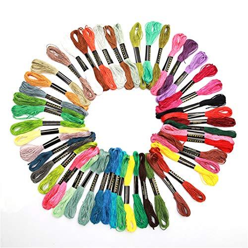 DYSCN 50 Stück/Packung Regenbogenfarben Stickgarn - Kreuzstichfäden - Freundschaftsarmbänder Zahnseide - Diy Bastelseide zum Nähen von Zubehör