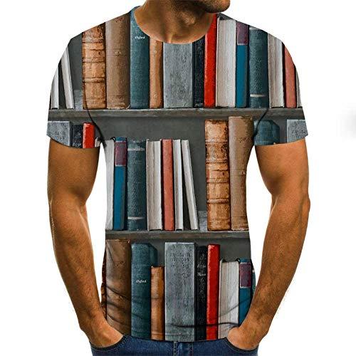 Retro Boekenplank 3D Printing Unisex T Shirt Zomer 3D Gedrukt Korte Mouw Mode Crew Neck T-Shirt voor Mannen Vrouwen