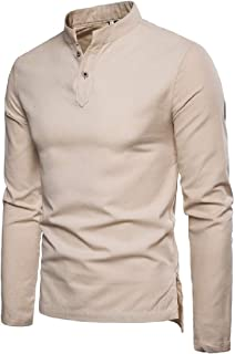 Mogogo Mens Stand up Collar Solid Color Long Sleeve Linen Simple Causal T-Shirt Top