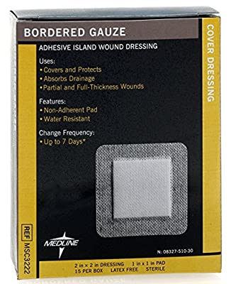 """Medline MSC3222Z Sterile Bordered Gauze, 2"""" x 2"""" (Pack of 15)"""