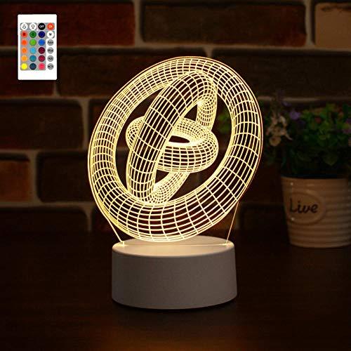 Lámpara de cabecera con luz nocturna 3D de tres anillos LED, 16 colores, holograma, luz de ilusión, control remoto, toque inteligente, regalo de cumpleaños personalizado para amigas adolescentes