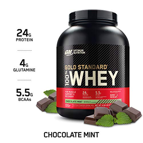 Optimum Nutrition Gold Standard 100% Whey Protein Powder Chocolate Mint 5 Pound Package May Vary
