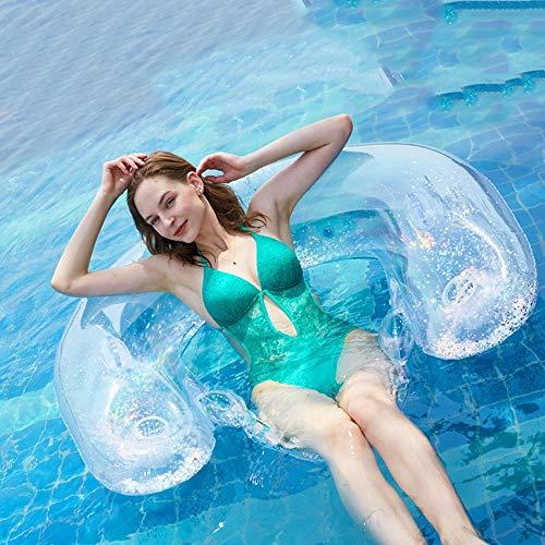 OBTTI Pailletten Rückenlehne Schwimmende Reihe Wasser Faul Lounge Sessel Aufblasbare Aufsitzbetten Schwimmring für Erwachsene Pool Rafts Liegestuhl Strand Swimmingpool Seaside Party