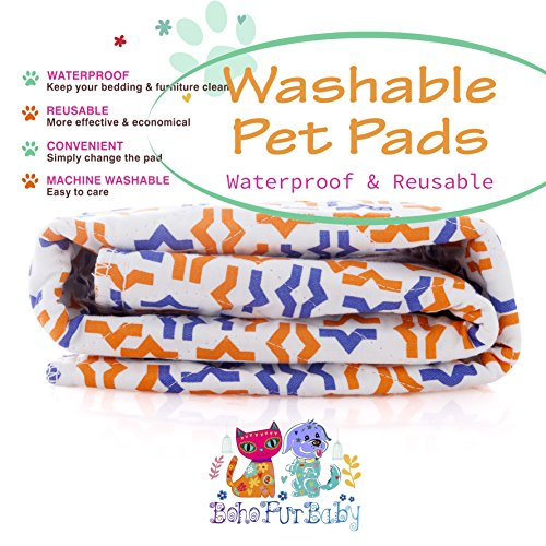 Boho Fur Baby 2-Pack Waterproof Kennel/Crate Pads for Your Pet Thick Reusable and Washable Pet, Puppy and Dog Training Travel Pee Pads - Size Extra Large 31 x 35
