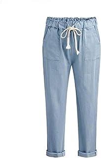 neveraway Women Casual Loose Tenths Pants Wild Elastic Waist Harem Pants