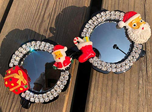 CIDCIJN Childrens Sunglasses,Gorgeous Diamond Baby Cute Sunglasses Round Shades Party Eyewear Christmas Cartoon Design Handmade Kids Eyeglasses