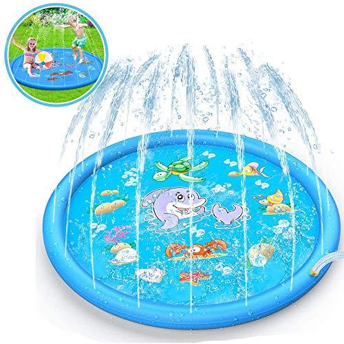 Sinwind Sprinkler Play Matte, 150cm Wasser-Spielmatte, Wasserspielzeug Garten Wasserspielmatte für Baby, Kinder, Hund und Haustiere