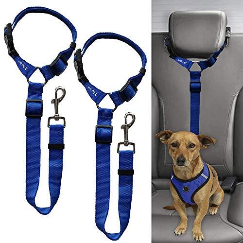 Doggy Car Headrest Restraint - Animal Safety Seat Belt Strap - Adjustable Nylon Fabric Harness for Dog – Easy Vehicle Travel with Pet – Durable Zipline & Tether Backseat for Traveling (Dark Blue)