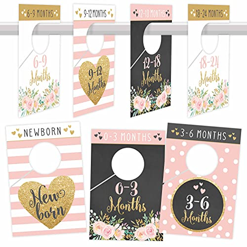 7 Pink Gold Baby Nursery Closet Organizer Dividers For Girl Clothing, Floral Age Size Hanger Organization For Kid Toddler, Infant, Newborn Clothes Must Have, Shower Registry Gift Supplies, 0-24 Months