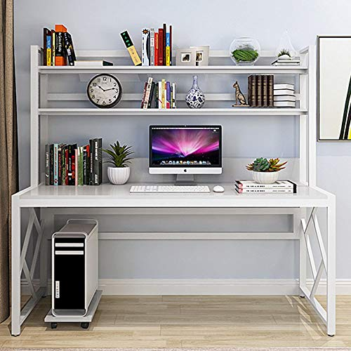 Qiupei Laptop Desk Workstation with Metal Frama Home Office Computer Table Study Writing Desk Compact Home Office Workstation (Color : White/White Frame, Size : 120x60x158cm)