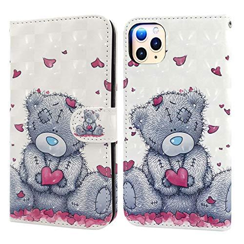 Ailisi Cover iPhone 11 Pro Max(6,5 pollici), 3D Flip Cover Cartoon cute love heart Teddy Bear Custodia Protettiva Caso Libro Pelle PU con Portafoglio, Funzione Supporto, Chiusura Magnetica