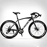 N&I Road Bike 700C High-Carbon Steel Frame Road Bicycle Road Bicycle Racing 26 inch Wheel Road Bicycle Double Disc Brake Bicycles (Color:C Size:24 Speed 40 Knives)