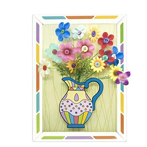 Godong - Kit de manualidades de flores para niños para hacer su propio ramo de flores con botones, manualidades, juguete de regalo de cumpleaños, caja de papel ramo de pétalos