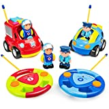 Best Choice Products Set of 2 RC Remote Control Firetruck and Police Cars w/ Removable Action Figures
