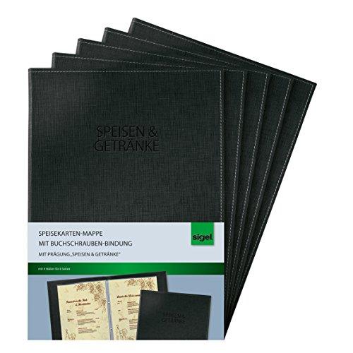 SIGEL SM131/5 Speisekarten-Mappen mit Buchschrauben-Bindung für A4, 5-er Pack, schwarz