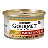 Purina Gourmet Gold - Tuercas de Salsa con Pavo y Pato, 24 latas de 85 g Cada uno, 24 Unidades de 85 g