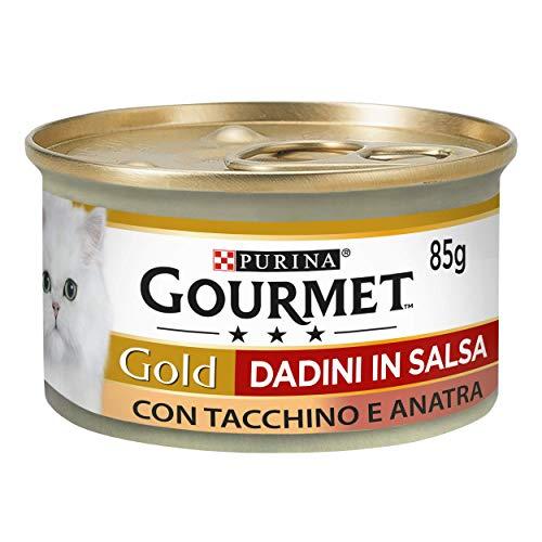 Purina, Gourmet Gold, Nassfutter für Katzen, Truthahn und Ente in Würfeln mit Sauce, 24 Dosen à 85 g