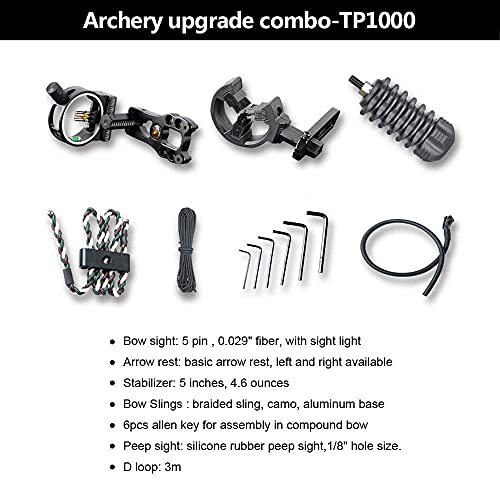 SHARROW Archery Compound Bow Kit 30-70lbs Adjustable Hunting Bow Adult Right Hand Compound Bow and Arrow Set with All Accessories for Outdoor Shooting (Type 2: Black)
