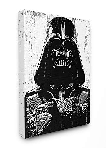 The Stupell Home Décor Collection Black and White Star Wars Darth Vader Distressed Wood Etching Stretched Canvas Wall Art, 16 x 20, Multi-Color