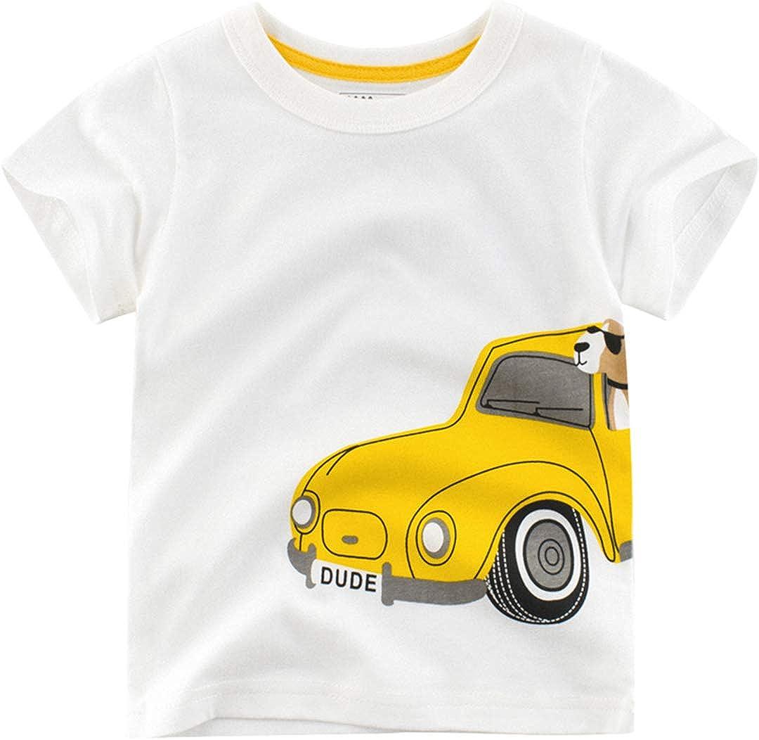 HUHUXXYY Kids Boys Summer Clothes Short Sleeve Round Neck Cotton T-Shirt Tee Tops