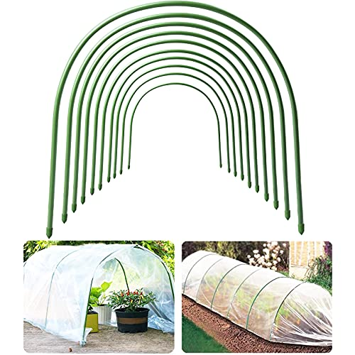 10 Pcs Garden Greenhouse Hoops, 19.7'x18.9' Dia.11mm Garden Tunnel Hoops for Raised Beds Row Cover -...
