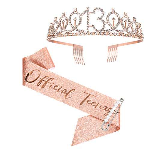 13th Birthday Sash and Crown for Girls, Rose Gold Official Teenager Sash...