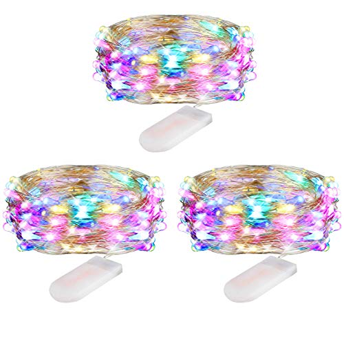 Coloured Fairy Lights Battery Operated, 30 Micro LED Copper Wire String Fairy Lights Indoor, 3m Waterproof Starry Lights for Wedding, Party, Bedroom, Christmas Decor, Multi Coloured