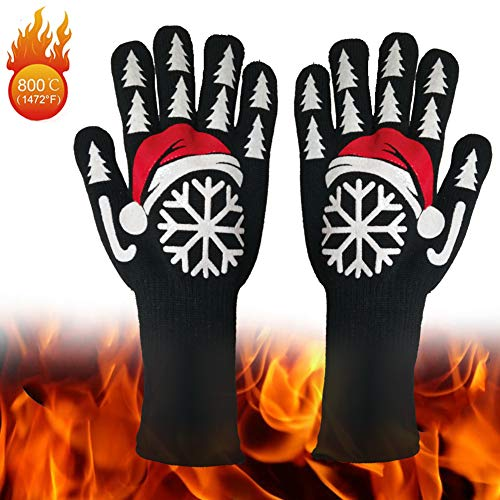 BBQ Grilling Gloves932°F Extreme Heat Resistant Kitchen Gloves Oven Mitts for CookingBakingBarbecueWeldingCutting1 Pair 33CM