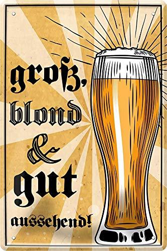 Onbekend groot, blond, goed uitziend - Bier 20 x 30 bar party kelder decoratie blikken bord 201