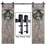 8ft Heavy Duty Double Door Sliding Barn Door Hardware Kit -Smoothly and Quietly -Simple and Easy to Install -Includes Step-by-Step Installation Instruction - Fit 24' Wide Door Panel (J Shape)