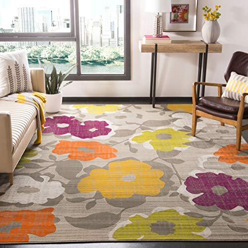 Safavieh Porcello Collection PRL7726C Floral Non-Shedding Stain Resistant Living Room Bedroom Area Rug, 8' x 10', Grey / Yellow