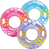 CBOX Pack of 1 Cool Printed Wheel Tire Men/Women/Kids Swimming Ring Adult Inflatable Pool Float Tube Circle Summer Water Toys Air Mattress