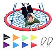 """Royal Oak Giant 40"""" Spider Web Tree Swing, 600 lb Weight Capacity, Durable Steel Frame, Waterproof, Adjustable Ropes, Flag Set and 2 Carabiners, Non-Stop Fun for Kids!"""