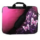 TaylorHe 15' 15,6' Borsa in Nylon per notebook borsa a tracolla per PC portatili Laptop Sleeve Case con manici e tracolla tasche per accessori Samsung/Acer/Toshiba/Macbook farfalle, rosa, brilla