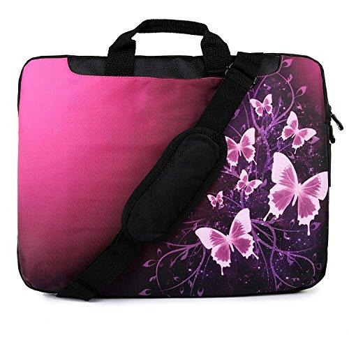 TaylorHe - Borsa per pc portatile da 15   15,6   16 pollici, in nylon resistente, con motivi colorati, tasche laterali, maniglie e tracolla staccabile Pink Butterflies