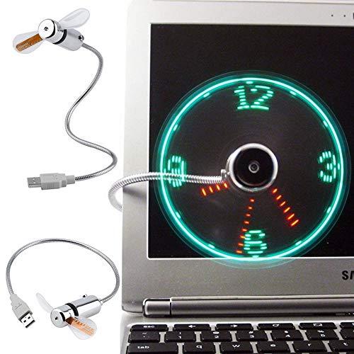 Hpybest Hand Mini USB Ventilator draagbare gadgets Flexibele Zwanenhals LED Klok Koel Voor laptop PC Notebook real Time Display duurzaam Verstelbaar