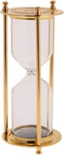 Backbayia Retro Metal Sandglass Empty Hourglass Sand Timer Without Sand for Home Office Decoration (Gold - S)