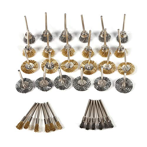 JingYi Wire Brush,36pcs Brass Steel Wire Brush Set Pen Cup Wheel Shaped Polishing Cleaning Rotary Tools Full Kit Stainless Steel Wire Brush