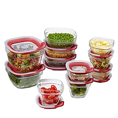 Rubbermaid 1865887  Easy Find Lids 22-Piece Glass Food Storage Container Set