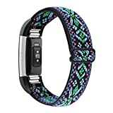 YONWORTH Adjustable Elastic Watch Band Compatible with Fitbit Charge 2 Bands, Stretchy Nylon Loop Strap Soft Wrist Bands Bracelet Sport Replacement for Women Men (Aztec Blue Green)