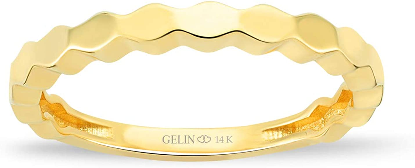 GELIN Honeybee Ring in 14k Solid Gold | Stackable Ring for Women | Wedding Band Anniversary Ring - Size 8