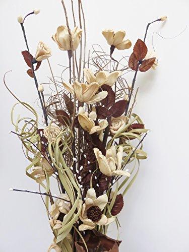 Blumenstrauß aus Kunstblumen und getrockneten Blumen, 85 cm, ohne Vase natur