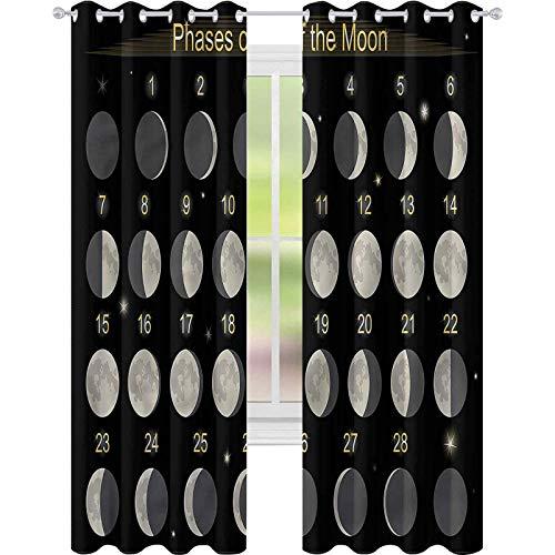 Cortina de ventana para ventana con fases de la luna, calendario mensual de 52 x 63, cortina de oscurecimiento para sala de estar