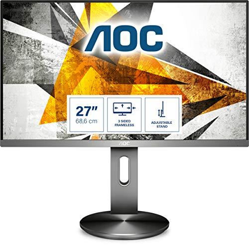 AOC I2790PQU/BT - 27 Zoll FHD Monitor, höhenverstellbar (1920x1080, 60 Hz, VGA, HDMI, DisplayPort, USB Hub) grau/schwarz