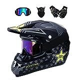 YUCARAC MTB Full Face Helm mit Schutzbrille Handschuhe Maske Motocross-Helm, Motorrad Motorradhelm Set
